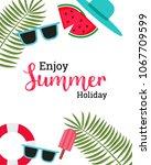 enjoy summer text title poster... | Shutterstock .eps vector #1067709599