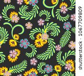a simple floral pattern ... | Shutterstock .eps vector #1067709809