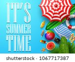 it's summer time banner with... | Shutterstock .eps vector #1067717387