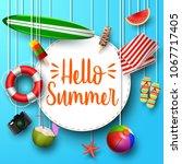 hello summer. view of surfboard ... | Shutterstock .eps vector #1067717405