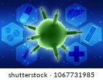 3d rendering viruses in... | Shutterstock . vector #1067731985