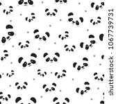 cute panda face . seamless... | Shutterstock .eps vector #1067739731