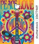 Peace Love Music  Illustration...
