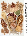 food with high fiber content... | Shutterstock . vector #1067750699