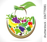 fruits and vegetables basket in ... | Shutterstock .eps vector #106775081