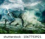 Illustration Of A Kraken Or...