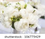 white wedding bouquet in vase