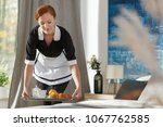 a young  ginger housemaid... | Shutterstock . vector #1067762585