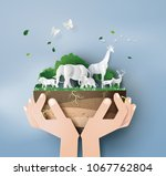 world wildlife day and... | Shutterstock .eps vector #1067762804