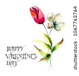 stylized tulips flowers with...   Shutterstock . vector #1067763764