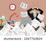 stress at work concept flat... | Shutterstock .eps vector #1067763824