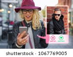 young woman using dating app on ... | Shutterstock . vector #1067769005
