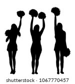 silhouette of girl  cheerleader ... | Shutterstock .eps vector #1067770457