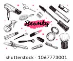cosmetics and beauty background ... | Shutterstock .eps vector #1067773001