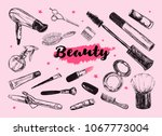 cosmetics and beauty background ... | Shutterstock .eps vector #1067773004