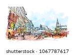 buildings view with landmark... | Shutterstock .eps vector #1067787617