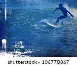 surf poster with rider in action | Shutterstock . vector #106778867