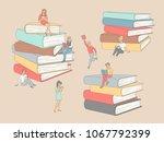 people reading books  learning...   Shutterstock .eps vector #1067792399