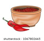 chilli pepper hot vegetable... | Shutterstock .eps vector #1067802665