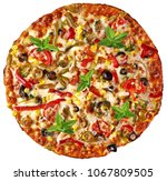 whole round pizza with mint... | Shutterstock . vector #1067809505