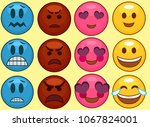 set of different emojis.... | Shutterstock .eps vector #1067824001