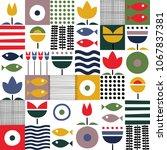 folk art pattern in... | Shutterstock .eps vector #1067837381