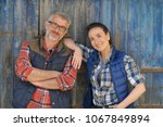 couple of farmers standing in... | Shutterstock . vector #1067849894