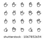 vector set of gesture icons in... | Shutterstock .eps vector #1067852654