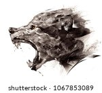 sketch wolf wolf sideways on a... | Shutterstock . vector #1067853089