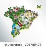 map of brazil with all capitals.... | Shutterstock .eps vector #106785479