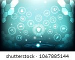 brain low polygon network... | Shutterstock .eps vector #1067885144