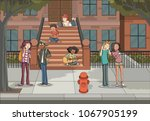group of young people in front... | Shutterstock .eps vector #1067905199