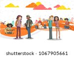 street of a city with cartoon... | Shutterstock .eps vector #1067905661