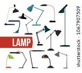 lamp set vector. table desk... | Shutterstock .eps vector #1067907509