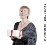 beautiful woman with a gift... | Shutterstock . vector #1067916461