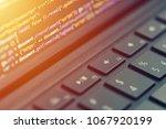 Small photo of Closeup coding, programming on laptop screen, web development, developer