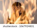 double exposure. man expressing ... | Shutterstock . vector #1067924831