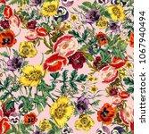 flower print pattern  | Shutterstock . vector #1067940494