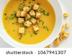 pea soup puree with fried in... | Shutterstock . vector #1067941307