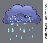 rainy sad cloud. cartoon vector ... | Shutterstock .eps vector #1067944721