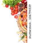 delicious pizza  vegetables and ... | Shutterstock . vector #106794539