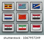 set waving flags in picture... | Shutterstock .eps vector #1067957249
