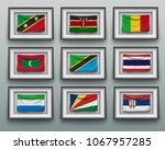 set waving flags in picture... | Shutterstock .eps vector #1067957285