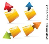arrows folders vector set - stock vector