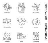 wedding icons set  honeymoon ... | Shutterstock .eps vector #1067978831