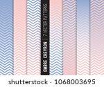 pink blue ombre chevron vector ... | Shutterstock .eps vector #1068003695