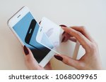 smartphone with screen protect... | Shutterstock . vector #1068009965