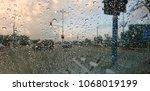 waterdrop on window glass   Shutterstock . vector #1068019199