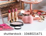 decorative cosmetics on... | Shutterstock . vector #1068021671