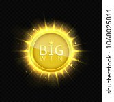 big win label. golden jackpot... | Shutterstock .eps vector #1068025811